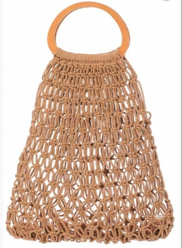 The Molly Macrame Market Tote - Tan Macrame with Wood Handles