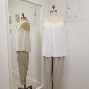 white v neck detail camisole with lining and adjustable straps