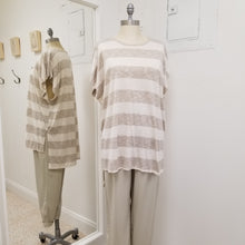 Load image into Gallery viewer, Taupe striped hi-lo Tee