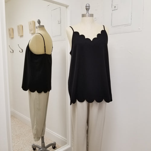 Petal- black scalloped camisole with adjustable straps