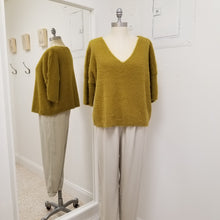 Load image into Gallery viewer, Marigold fuzzy V-neck sweater