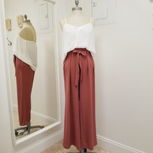Load image into Gallery viewer, Marsala- Paper bag style high waist palazzo pants