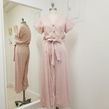 Load image into Gallery viewer, short sleeve dusty pink and white striped cotton linen blend mid length jumpsuit with elastic waist and tie belt, v neck with 3 buttoned top, fully lined