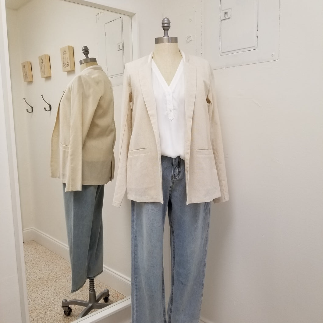 Elenor- oatmeal linen blazer with detailed collar