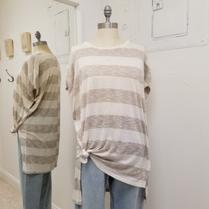 Taupe striped hi-lo Tee