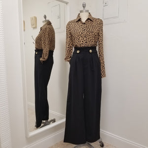 cotton, linen wide leg lightweight black pants with zip front , pleated pockets and 2 decorative front buttons