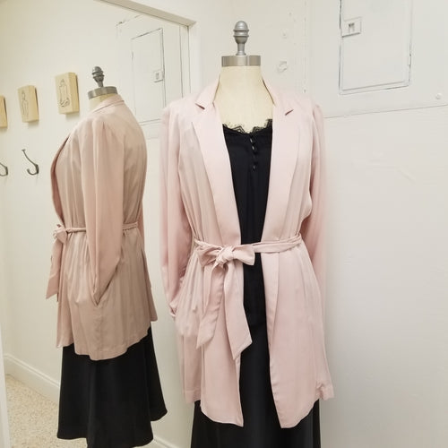Coco- blush trench coat with tie waist
