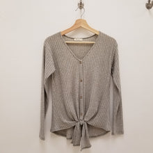 Load image into Gallery viewer, Heather grey tie front knit top