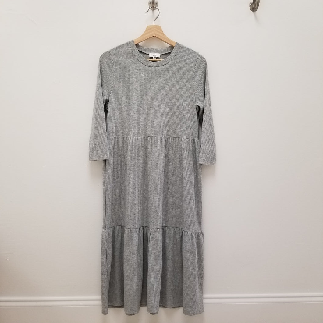 grey 3 tiered rib knit midi dress