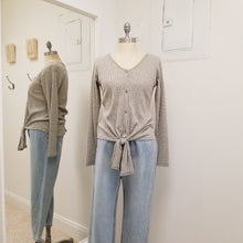 Load image into Gallery viewer, heather green grey long sleeve ribbed knit top with tie front and buttons