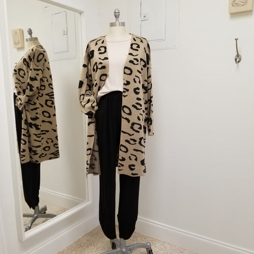 tan and black leopard print knee length open cardigan