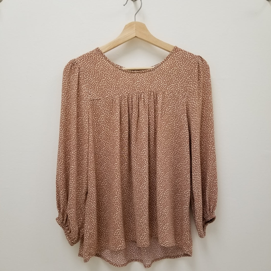 sandy taupe spotted blouse