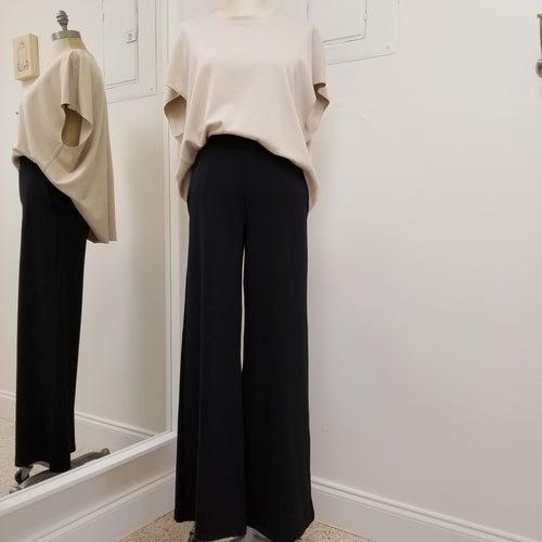 black long wide leg ponte knit pants with pockets