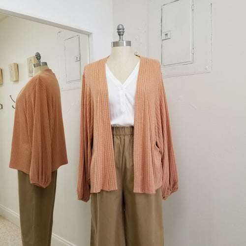 light salmon soft knit kimono style open cardigan with dolman sleeve