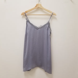 Marilee- blue grey lace trim silky camisole