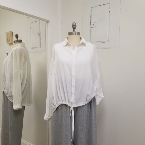 White ruched blouse with drawstring waist