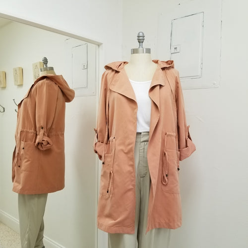clay hooded trench jacket