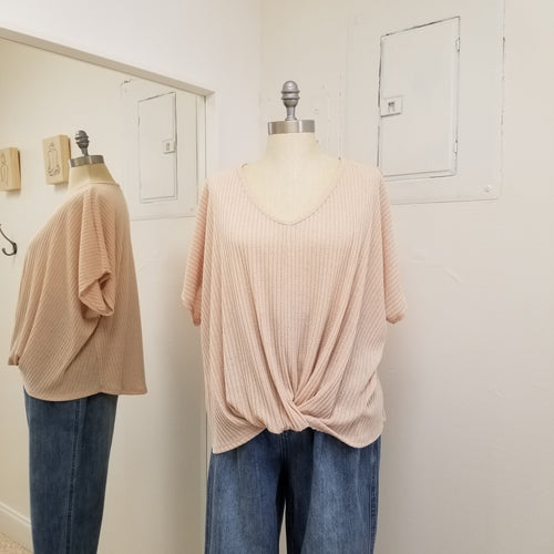 twist front short sleeve v neck knit top