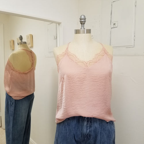 Blush lace cami with racer back