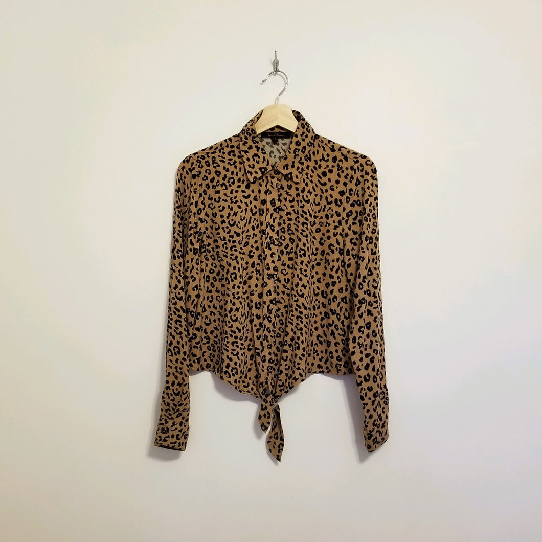 Camel and Black leopard print long sleeve top