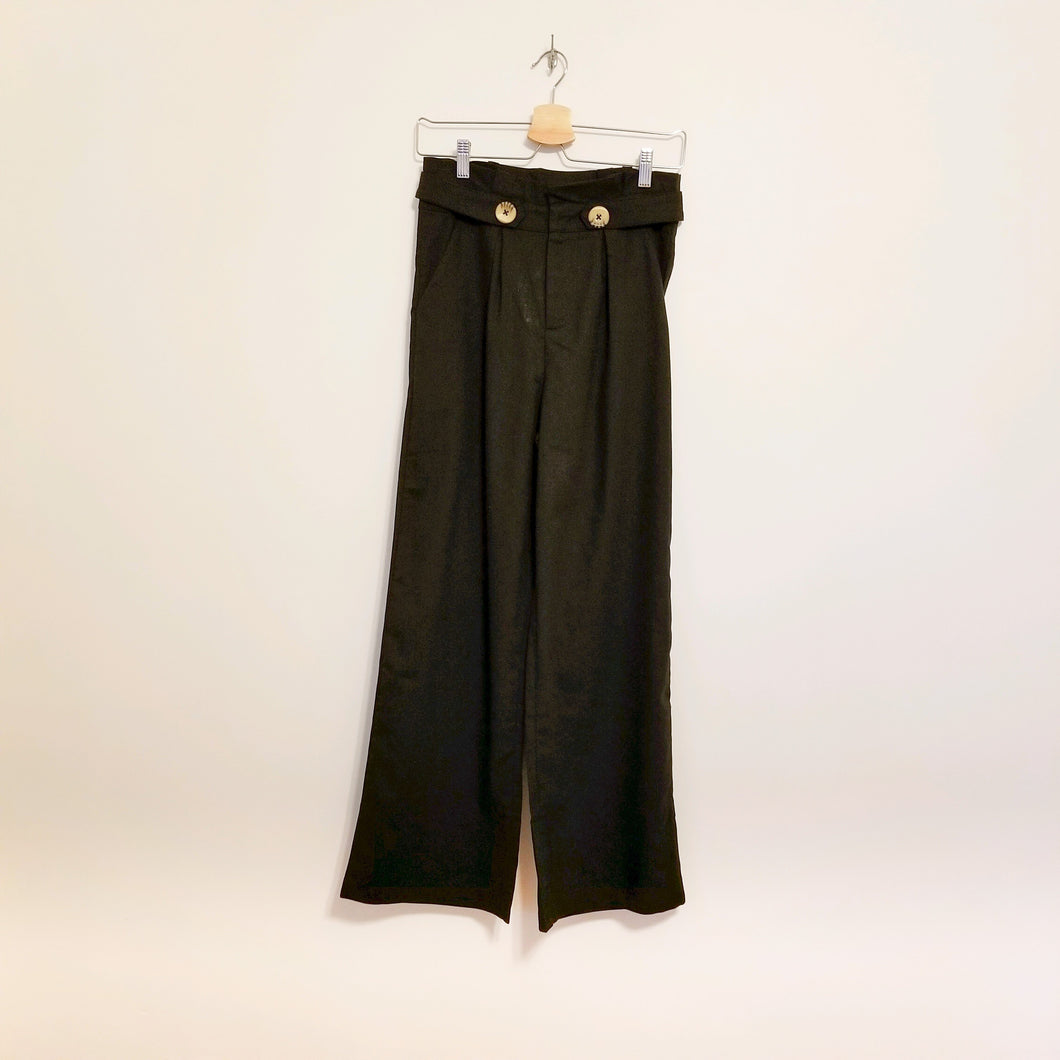 Black linen/cotton wide leg pants