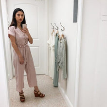 Load image into Gallery viewer, Mauve stripe cotton/linen jumpsuit