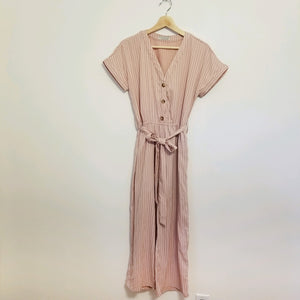 Mauve stripe cotton/linen jumpsuit