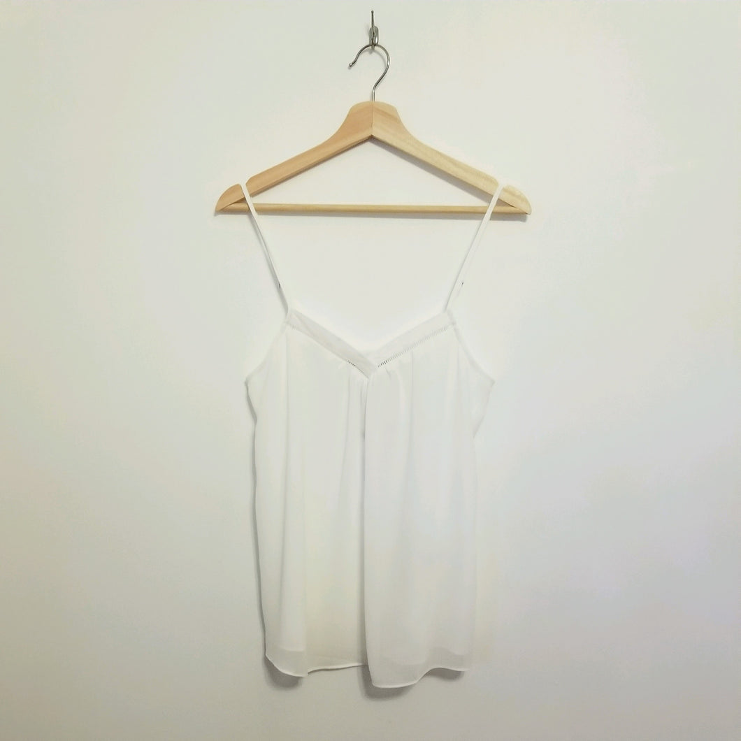 White cami with v neck detail