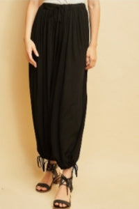 Charley-black palazzo adjusts to jogger pants
