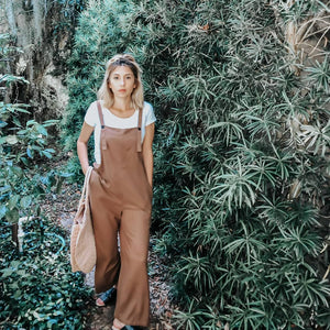 The Emmi Jumper - Brown Linen Overalls style jumper with pockets