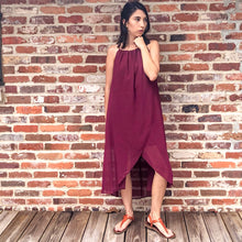 Load image into Gallery viewer, Genevieve - burgundy crossover wrap Midi Dress