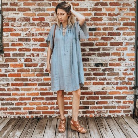 Serenity Mock Dress- flowy dusty blue mock dress