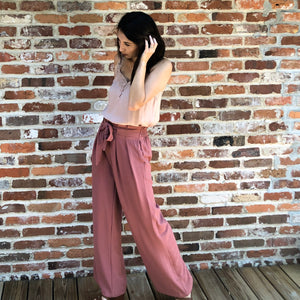 Marsala- Paper bag style high waist palazzo pants