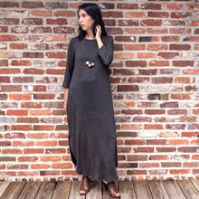 Load image into Gallery viewer, Celine- Charcoal grey 3/4 sleeve knit Maxi Dress