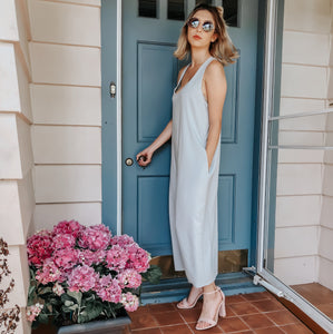 The Loretta Midi - Soft Grey V neck midi length Dress