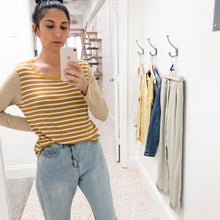 Load image into Gallery viewer, Mustard long sleeve stripe top