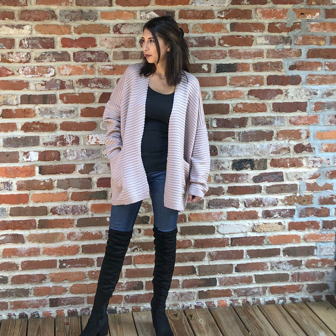 Maisie- dusty mauve cardigan sweater with pockets