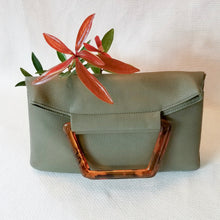Load image into Gallery viewer, The Hazel - vegan leather clutch with top handle and optional crossbody