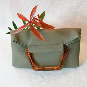 The Hazel - vegan leather clutch with top handle and optional crossbody