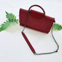 Load image into Gallery viewer, The Cora- burgundy top handle vegan satchel bag