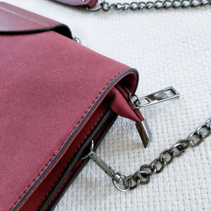The Cora- burgundy top handle vegan satchel bag
