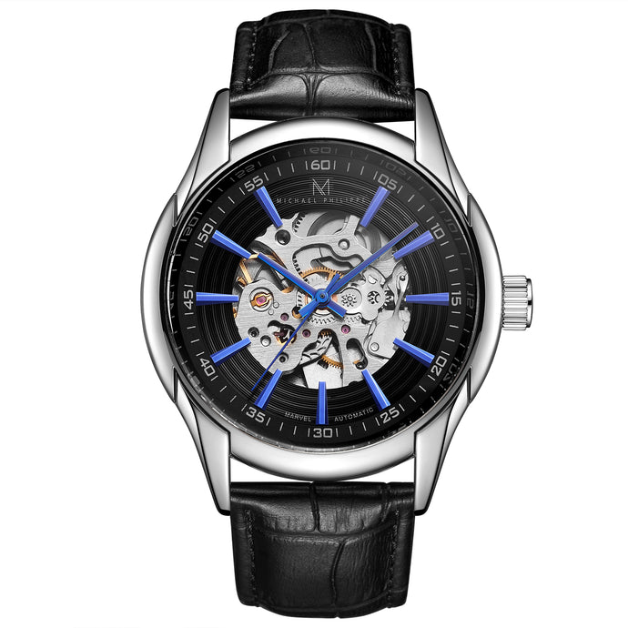 Marvel | 43mm <small> <br>Classic Leather<br> Cosmic Black </br> </small> <center>