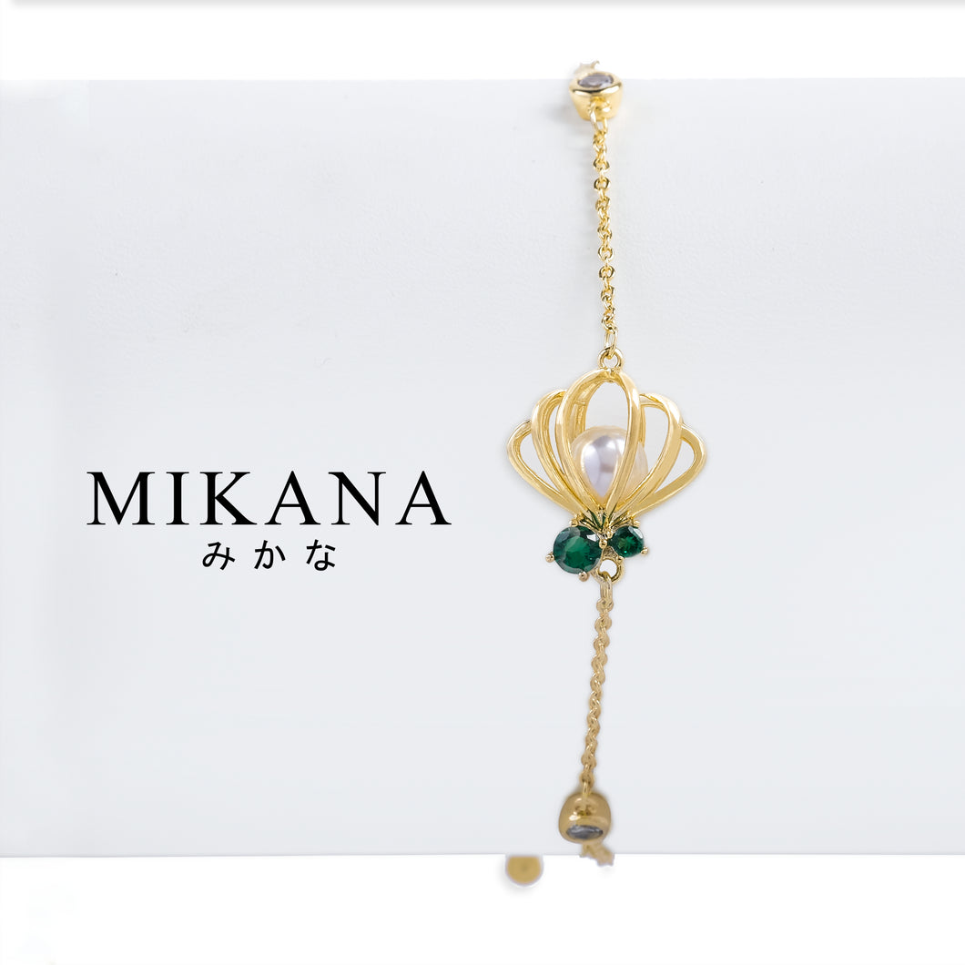 Mikana Princess Little Mermaid Ariel Pearl 18k Gold Plated Link Bracelet Accessories For Women