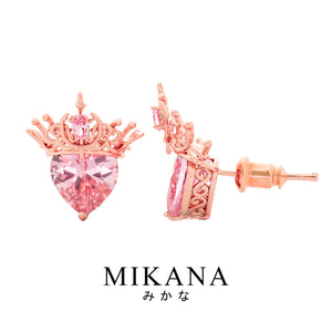 Mikana Hallyu K-Pop 18k Rose Gold Plated Blackpink Heart Crown Stud Earrings Accessories For Women