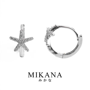 Mikana 14k White Gold Plated Hitodetsuin Hoop Earrings accessories for women