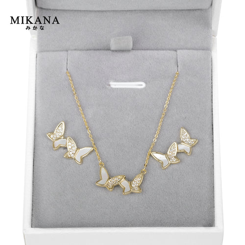 Mikana 18k Gold Plated Twin Butterfly Jewelry Set accessories for women