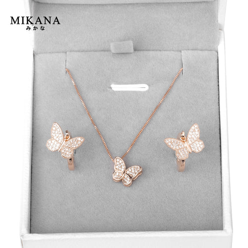 Mikana 18k Rose Gold Plated Pink Butterfly Jewelry Set accessories for women