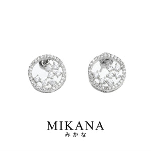 Mikana 14k White Gold Plated Ayu Stud Earrings accessories for women