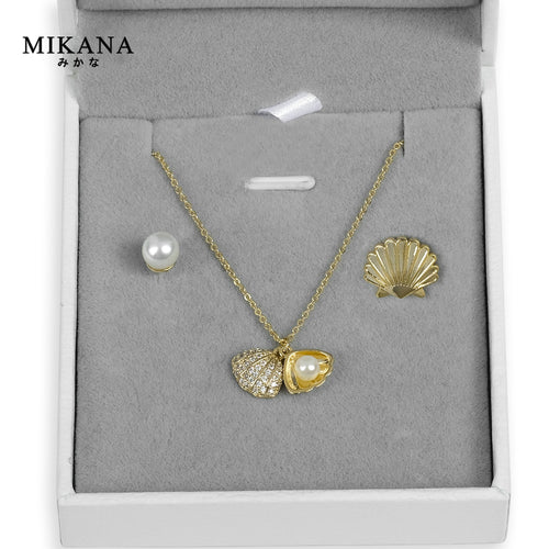 Mikana 18k Gold Plated Clamshell Jewelry Set accessories for women