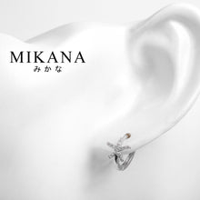 Load image into Gallery viewer, Mikana 14k White Gold Plated Hitodetsuin Hoop Earrings accessories for women